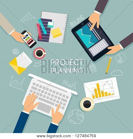 Business Teamwork. Flat Banner Of Business Strategy. Creative Team Desktop Top View With Tablets, St