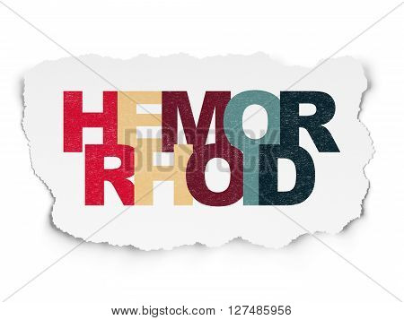 Healthcare concept: Painted multicolor text Hemorrhoid on Torn Paper background