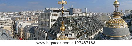 PARIS FRANCE - OCTOBER 11 2015: Panorama and Aerial view from the terrace of store Printemps (founded in 1865) in Paris.