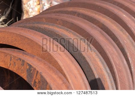 East Ely, Nevada,USA. 11th May 2015 Locomotive wheel detail at Nevada Northern Railway Museum