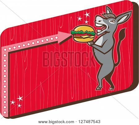 Illustration of a donkey ass mule or horse mascot serving up a hamburger burger sandwich viewed fromt the side set inside rectangle shape with woodgrain done in 1950s retro diner style