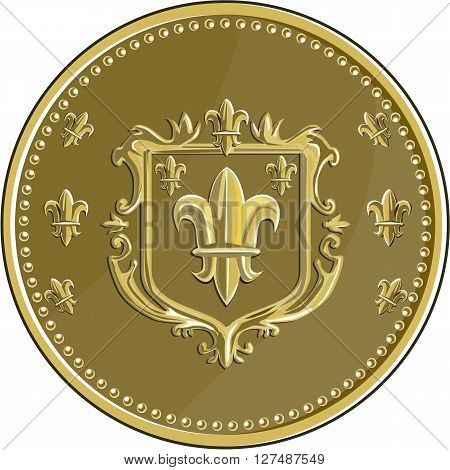 Illustration of a fleur-de-lis fleur-de-lys or flower of the lily depicting a stylized lily or lotus flower inside a crest shield coat of arms set on gold coin medallion medal done in retro style.