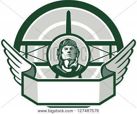 Illustration of a vintage world war one pilot airman aviator bust with spad biplane fighter plane front in background set inside circle done in retro style.