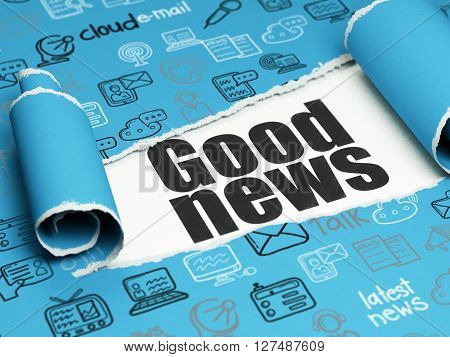 News concept: black text Good News under the curled piece of Blue torn paper with  Hand Drawn News Icons, 3D rendering