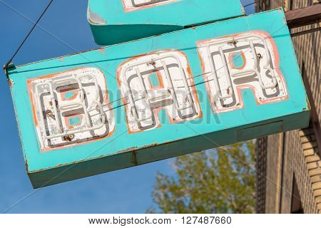 East Ely, Nevada,USA. 11th May 2015 Old neon bar sign