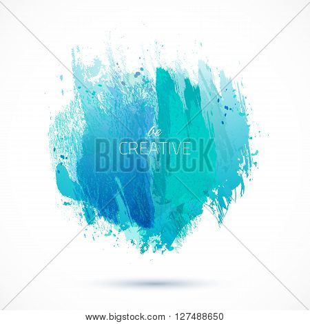 Vector watercolor background. Colorful abstract texture. Vector design elements. Grunge blue background. Vector watercolor splash.