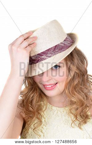 portrait the emotional girl model wearing in a summer hat posing isolated on the white background.