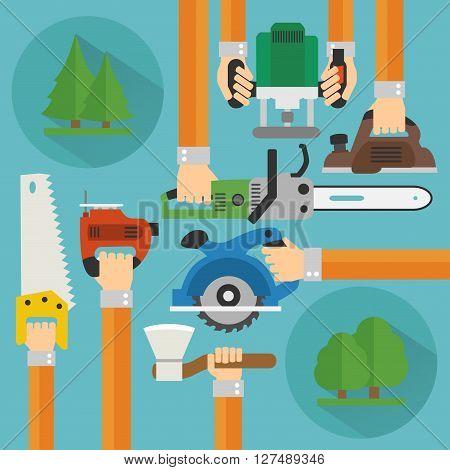 Sawmill concept design flat set .Vector illustration