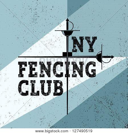 Sports fencing poster illustration. Sport vintage background. Vector retro fencing club style. Fencer club flyer
