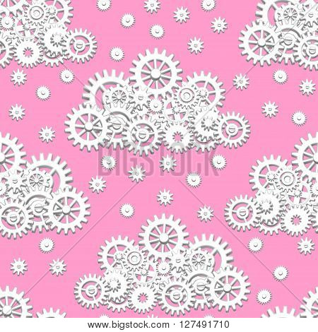 Seamless pattern with mechanical clouds made from gears with snowflakes or raindrops