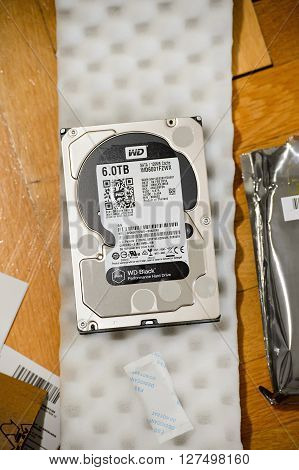 PARIS FRANCE - MAR 18 2016: New Western Digital Hard disk drive with 6 Terabytes capacity. Western Digital is the biggest storage data manufacture worldwide