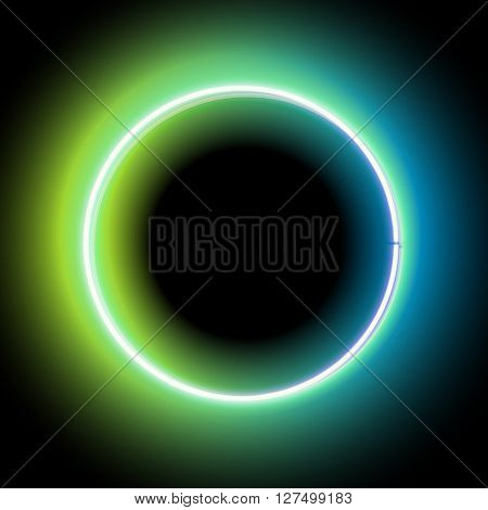 Neon circle. Neon green light. electric frame. Vintage frame. Retro neon lamp. Space for text. Glowing neon background. Abstract electric background. Neon sign circle. Glowing electric circle.