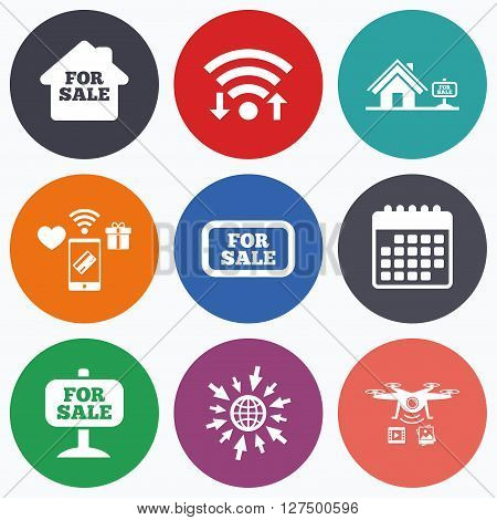 Wifi, mobile payments and drones icons. For sale icons. Real estate selling signs. Home house symbol. Calendar symbol.