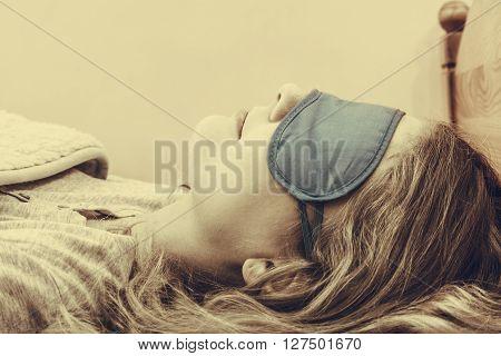 Sleeping Woman Wearing Blindfold Sleep Mask.