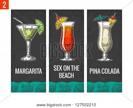 Alcohol cocktail set. Margarita sex on the beach pina colada. Vintage vector engraving illustration for web poster menu invitation to summer beach party. Isolated on dark background.