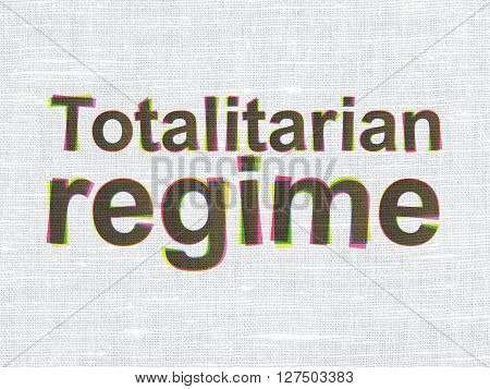 Politics concept: CMYK Totalitarian Regime on linen fabric texture background