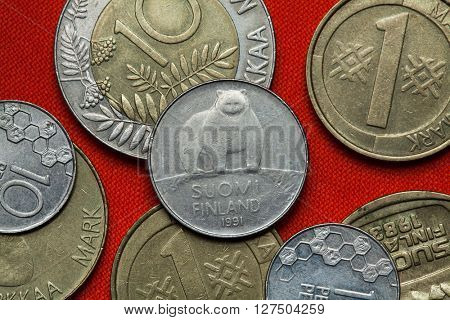 Coins of Finland. Brown bear (Ursus arctos) depicted in the Finnish 50 penni coin (1991). poster