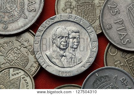 Coins of Spain. King Juan Carlos I and Crown Prince Felipe of Spain depicted in the Spanish 200 peseta coin (1990).