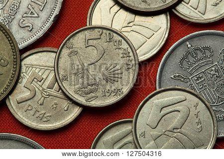 Coins of Spain. Botafumeiro and Scallop shell symbol for the Camino de Santiago depicted in the Spanish five peseta coin (1993).