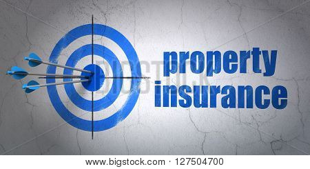 Success Insurance concept: arrows hitting the center of target, Blue Property Insurance on wall background, 3D rendering