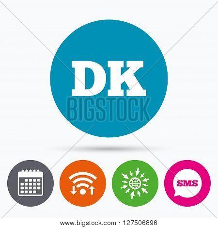 Wifi, Sms and calendar icons. Denmark language sign icon. DK translation symbol. Go to web globe.