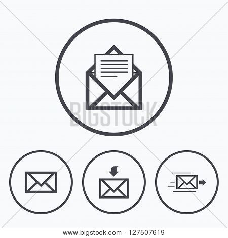 Mail envelope icons. Message document delivery symbol. Post office letter signs. Inbox and outbox message icons. Icons in circles.
