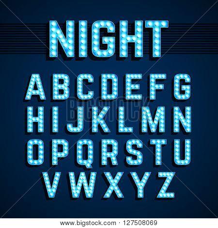 Broadway lights style light bulb alphabet, night show. Vector illustration.