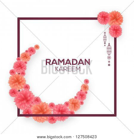 Elegant greeting card design with creative moon made by glossy flowers for Islamic Holy Month of Fasting, Ramadan Kareem celebration.