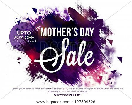 Mother's Day Sale, Sale Poster, Sale Banner, Sale Flyer, Upto 70% Off on Every Brand. Vector illustration with creative abstract design.