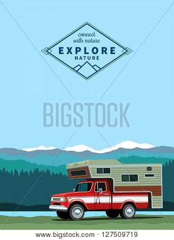 Camper shell pickup truck. Custom offroad truck with shadow at mountaing landscape background. Vector illustration poster