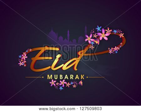 Glossy Golden text Eid with beautiful flowers decoration on mosque silhouetted purple background.