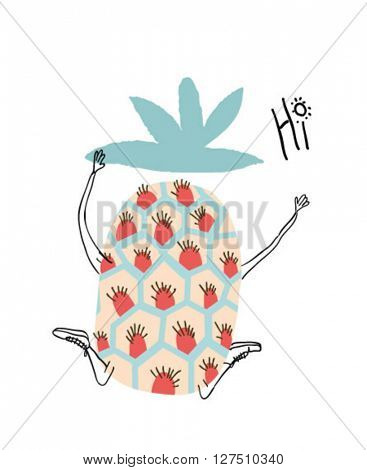 illustration character pineapple , hi summer for apparel 4