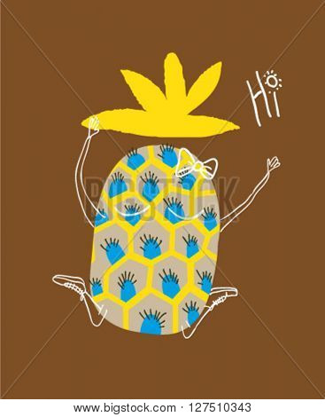 illustration character pineapple , hi summer for apparel 2