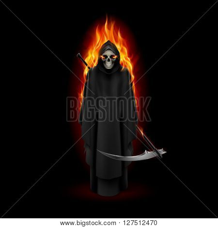 Grim Reaper in orange flame over black background