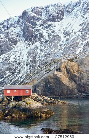 The town of Nusfjord in the Lofoten Islands Norway in the winter. poster