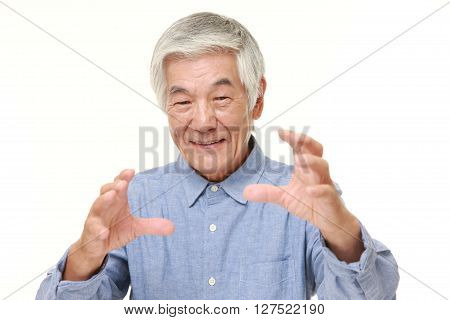 portrait of senior Japanese man with supernatural power on white background poster