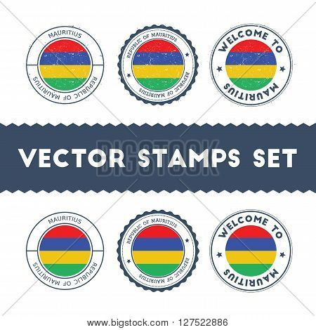 Mauritian Flag Rubber Stamps Set. National Flags Grunge Stamps. Country Round Badges Collection.