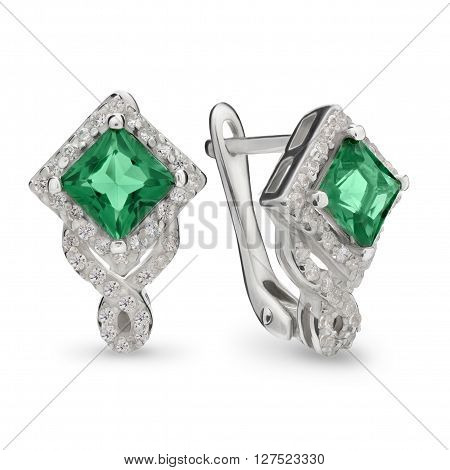 Green Emerald Ruby And Diamond Silver Earrings