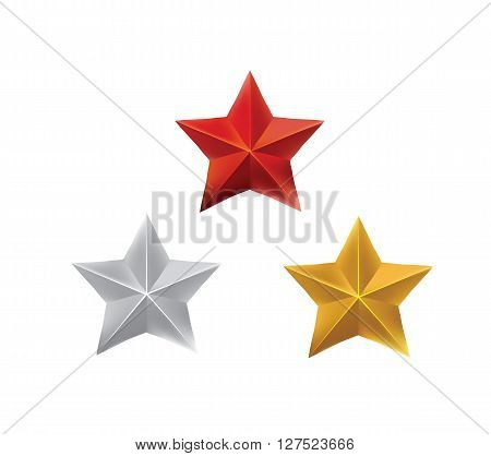 Star set, Red star, silver star, golden star, war hero reward, vector eps10 illustration isolated on white background