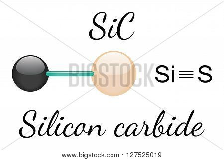 SiC silicon carbide 3d molecule isolated on white