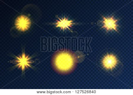 Light burst, star burst and sun burst light effect. Lens flare, glow light effect on transparent background. Isolated light burst and star burst vector set. Lens flare beams and realistic light burst. Sun burst and light burst sign collection. Glow effect
