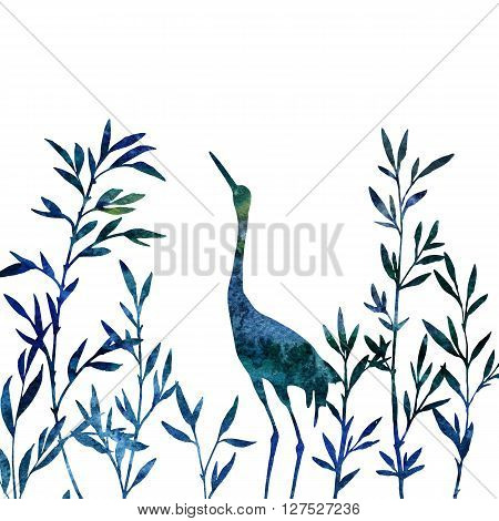 heron in thicket of branches with leaves drawing in watercolor, crane bird and bamboo shoots, hand drawn illustration