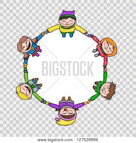 Kids in circle - hand drawn style cartoon round illustration, isolated vector on transparency.