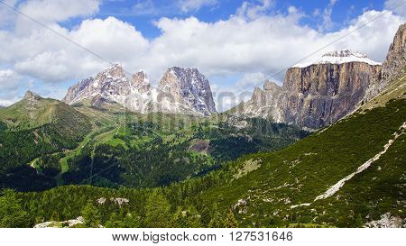 Picturesque Dolomites  landscape with mountain road. Italy