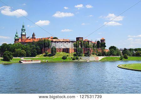 Picturesque landscape with Wawel Castle. Krakow, Poland