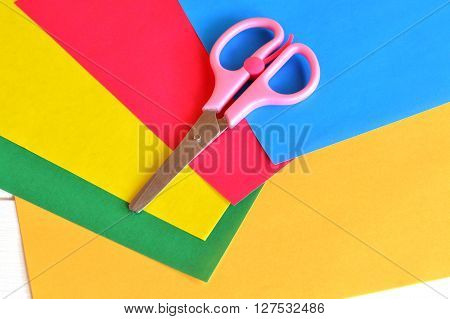 Colorful paper sheets, scissors, set for children's creativity