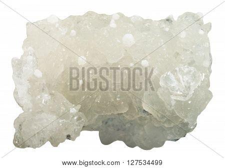 Raw Prehnite Gemstone With White Okenite Crystals