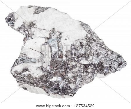 Steel Gray Bismuthinite Crystals In Quartz Rock