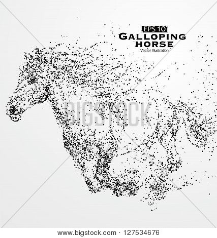 Galloping horse,Many particles,sketch,vector illustration, Across, hard, aggressive meaning.