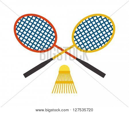 Two badminton racket and shuttlecock sport game leisure competition feather fitness vector.